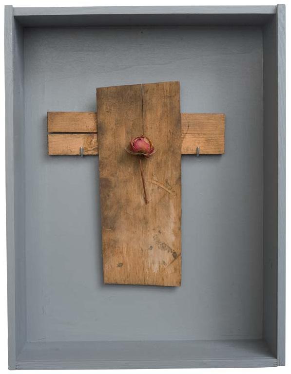 »Rosen-Kreuz«, Fundstücke, 38 x 29 cm