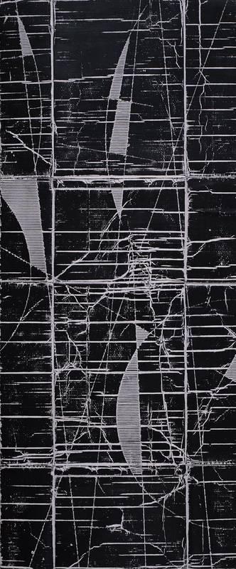 »Kosmische Vermessung, schwarz«, Wellpappe, Farbe, 214 x 90 cm