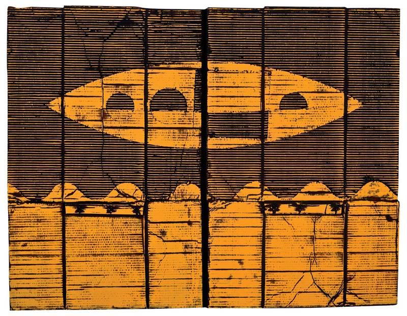 »Magic yellow«, Wellpappe, Farbe, 88 x 115 cm