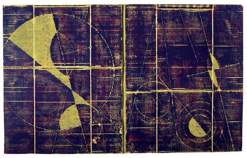 »Kosmische Vermessung 3«, Wellpappe, Farbe, 110 x 180 cm