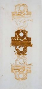 »Kreuz, keltisch«, Eisen auf Tuch, 150 x 60 cm