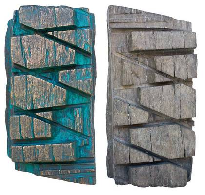»Gesägt«, Ensemble, Bronze, Holz, 22 cm (H) x 12 cm (B) x10 cm (T)